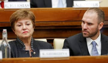 IMF Managing Director Kristalina Georgieva and Argentina's Economy Minister Martin Guzman attend a conference hosted by the Vatican on economic solidarity, at the Vatican, February 5, 2020. (REUTERS)