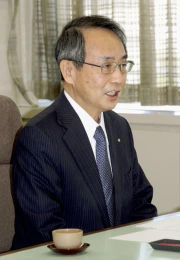 就任あいさつで福井県庁を訪れた関西電力の森本孝社長=31日午前