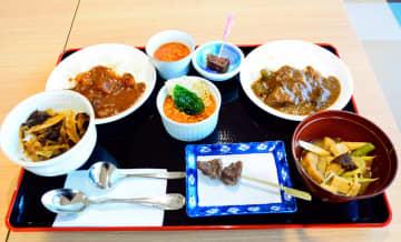 試食会で提供したクマ肉カレー、クマ鍋、そばの実リゾットなど