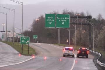 New Jersey State Police vehicles are stopped the morning of March 31, 2020, on the shuttered Exit 6 0n Interstate 78 East after a woman was shot along the exit ramp in Greenwich Township, Warren County. (Tim Wynkoop | lehighvalleylive.com contributor/)
