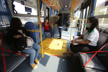 Bangkok Mass transit Authority applies social-distancing measures on its buses. (Photo by Apichit Jinakul)