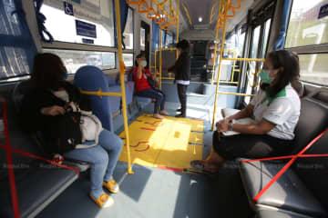 Bangkok Mass transit Authority applies social-distancing measures on its buses. (Photo by Apichit Jinakul)