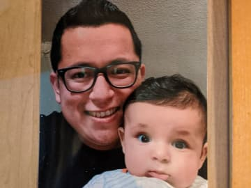 David De Leon, pictured here with his son, is one of the many ICE detainees fearful of a deadly viral outbreak at Essex County Jail. (File photo). (File photo/)