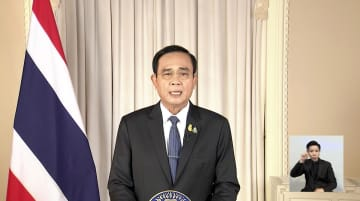 Thai Prime Minister Gen Prayut Chan-o-cha speaks on March 25, announcing that the Emergency Decree would be invoked form march 26 to April 30.TV POOL
