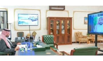 Northern Borders Region Gov. Prince Faisal bin Khalid bin Sultan bin Abdul Aziz chairs a virtual meeting in Arar on Tuesday. (SPA)