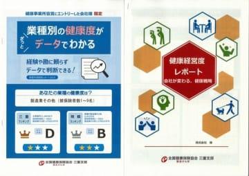 【事業所健康度レポート(左)と健康経営度レポートの表紙】