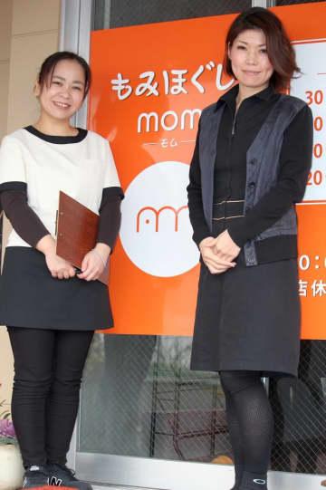 「障害がある子どもの母親に新しい働き方を示したい」と話す吉居さん(右)=佐々町、もみほぐし mom