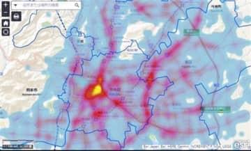交通事故が発生しているエリアを、多い順に黄、赤、青で色分けしたマップ(県警提供)