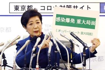 3月25日の小池都知事の会見(写真・つのだよしお/アフロ)