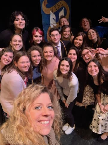 Lindsay Van Ziles McAloney with Vernon Township High School theater students.  (Courtesy of Lindsy Van Ziles McAloney/)