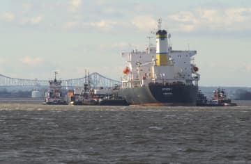 The oil tanker Athos I suffered a punctured hull while docked at a Paulsboro refinery on November 26, 2004, sending nearly 265,000 gallons of oil into the Delaware River. (Tim Hawk   Gloucester County Times) (Tim Hawk/)