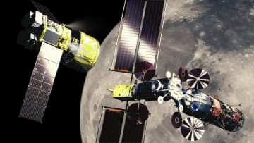 月周回有人拠点「ゲートウェイ」に接近するHTV-X(左)を描いた想像図(Credit: JAXA)