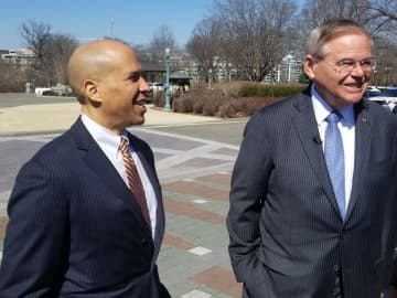 U.S. Sens. Cory Booker, left, and Robert Menendez, along with Rep. Albio Sires, announced Thursday that Hudson County would receive more than $9 million federal funding. (NJAM file photo) (Jonathan D. Salant/)