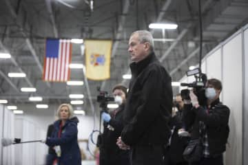 Gov. Phil Murphy on Thursday tours the new field hospital at the Meadowlands Exposition Center in Secaucus. (Michael Mancuso | NJ Advance Med             /)