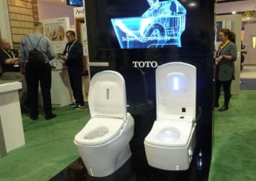 "Japanese manufacturer Toto's ""intelligent"" Washlet system being showcased at the Consumer Electronics Show in Las Vegas, Nevada. (AFP file photo)"