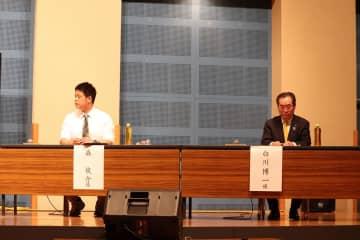 持論を展開した白川氏(右)と森氏=壱岐の島ホール