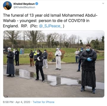 Ismail Mohamed Abdulwahab was buried at a ceremony on Friday. (Twitter)