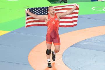 米国の男子フリースタイルで、のべ50人目の金メダリストとなったカイル・スナイダー=2016年リオデジャネイロ・オリンピック