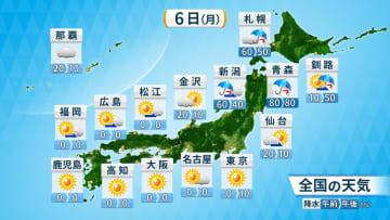 6日(月)全国の天気と降水確率