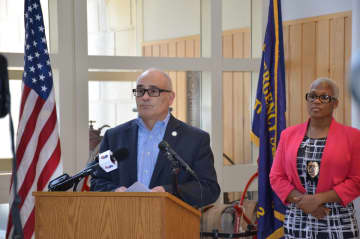 Mayor Reed Gusciora during a press conference Monday. (Courtesy City of Trenton/)