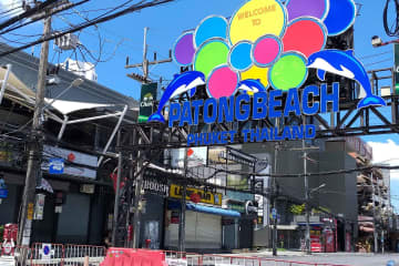 Phuket's Patong area where many entertainment venues were frequented by many of those who have been infected with Covid-19. (Photo: Achadtaya Chuenniran)