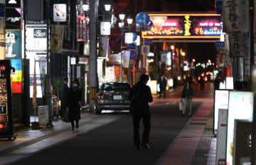 新型コロナウイルスの感染拡大の影響で閑散とする繁華街「ニシタチ」=7日午後、宮崎市