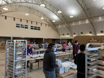 The Beth Medrash Govoha college in Lakewood has been turned into a food distribution center for Passover. (Avalon Zoppo/)