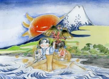 松井さんが手掛けた紙芝居「桃太郎」の一場面