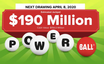 The Powerball lottery drawing for Wednesday, April 8, 2020 is worth an estimated $190 million. Check back later to see if anyone won the Powerball jackpot. (Powerball.com/)