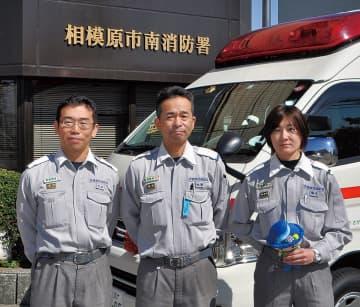 日勤救急隊の大田さん、永瀬さん、露木さん(左から)