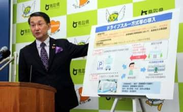 記者会見で、PCR検査のドライブスルー方式について説明する平井知事
