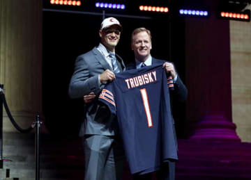 PHILADELPHIA, PA - APRIL 27: (L-R) Mitchell Trubisky of North Carolina poses with Commissioner of the National Football League Roger Goodell after being picked #2 overall by the Chicago Bears (from 49ers) during the first round of the 2017 NFL...