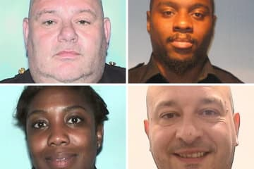 Top (from left to right): Michael Chirico, 55, and Erik Blount, 33, both of Newark. Bottom (from left to right): Tashia Jones, 35, of Newark, and Lt. Norberto Soares, 42, of Kenilworth. (Essex County Prosecutor's Office/)