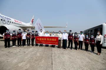中国の医療専門家チームと支援物資、ミャンマーに到着