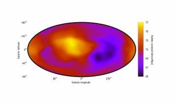 今回の研究によって示された、方向ごとに異なる宇宙の膨張速度(ハッブル定数)を示した全天マップ。地球から見た方向によって、膨張速度が速いところ(黄、オレンジ)と遅いところ(紫、黒)がある(Credit: K. Migkas et al. 2020)