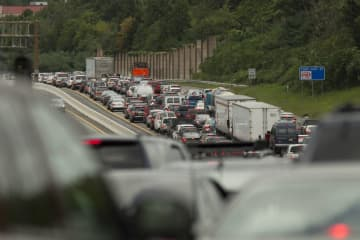 A Star-Ledger file photo of a 2011 traffic jam on Route 80 westbound in Denville and Rockaway. Vehicle traffic is the largest source of air pollution in New Jersey. (Photo by Steve Hockstein | For the Star-Ledger) (Hockstein, Steve/)