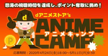 最長約20,660分、視聴目標達成でポイントが抽選で当たる「dアニメストア's アニメキャンプ」