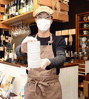 手作り「マスク」活用!梱包用ゴム無料配布 若松の飲食店開始