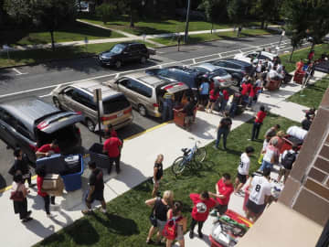 The college experience is built around crowds, like move-in day at Rutgers University in 2017. (Patti Sapone | NJ Advance Media for NJ.com)  (Patti Sapone/)