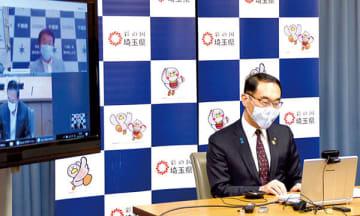 テレビ会議で1都3県が一体となった取り組みの重要性を伝えた大野元裕知事=19日午後、県庁