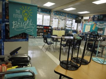 An empty classroom at Bartle School in Highland Park has been closed since mid-March due to the coronavirus pandemic.(Patti Sapone | NJ Advance Media/)