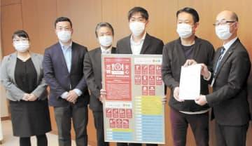 遠藤副知事(右端)に要望書を渡すプロジェクトのメンバーら=宮城県庁
