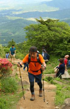 新緑の景色を楽しみながら女体山の山頂を目指す登山客=つくば市の筑波山