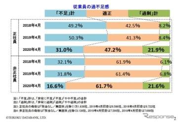 企業の人手不足に関する調査結果(2020年4月)