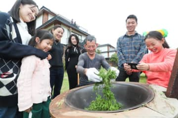 Tourists visiting a homestay in a village in Deqing, Zhejiang province, watch a farmer process tea leaves. [PHOTO BY WANG ZHENG/FOR CHINA DAILY]