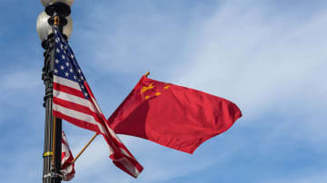 The national flags of China and the United States [PhotoXinhua]