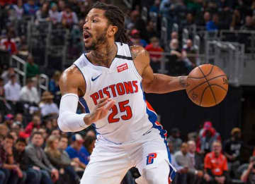 DETROIT, MI - JANUARY 24: Derrick Rose #25 of the Detroit Pistons controls the ball against the Memphis Grizzlies in the first half of an NBA game at Little Caesars Arena on January 24, 2020 in Detroit, Michigan.