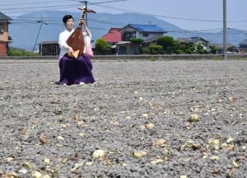 タマネギ「自然に返って」 白石の畑で供養演奏