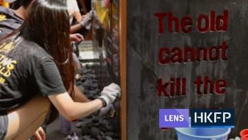 HKFP Lens: Hong Kong students clean Tiananmen Massacre Pillar of Shame