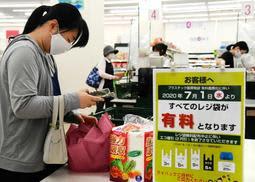 マイバッグに荷物を詰める買い物客=1日午前、神戸市灘区備後町5、トーホーストア六甲道駅前店(撮影・中西幸大)